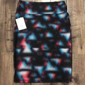 LuLaRoe Red & Blue Triangle Cassie Skirt